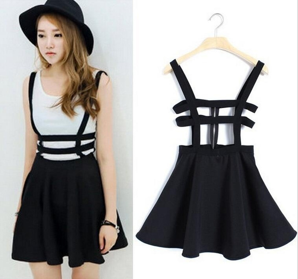 32dbe0e342 Women Fashion Black Overalls Suspenders Skirts Braces Zipper Skirt ...