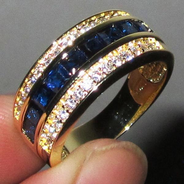 Blues, yellow gold, Jewelry, Blue Sapphire