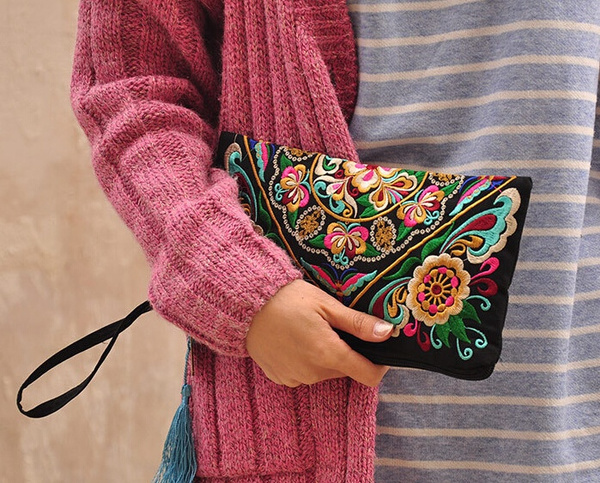 Picture of Women Lady Bag Handbag Purse National Retro Embroidered Phone Change Coin Bag