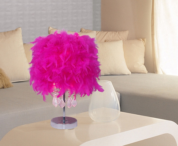Wish | Fashion Feather Table Lamp Living Room Crystal Lights Bedroom ...