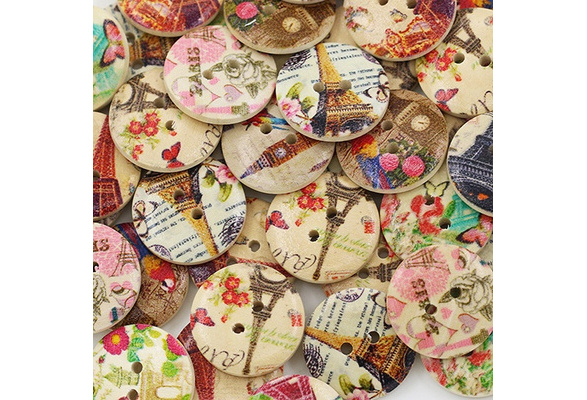 50 Pcs Eiffel Tower Flower 2 Holes Wooden Buttons Sewing DIY Craft Scrapbooking Cute