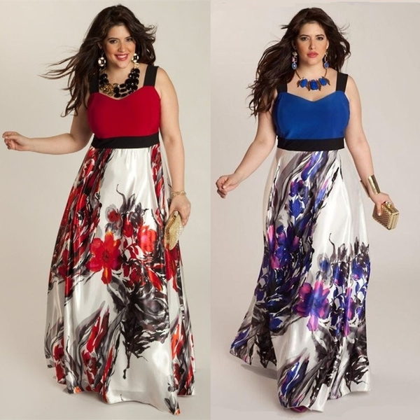 aaaee11759f8b Plus Size Women's Fashion Vintage Printing Sexy Patchwork Evening Dress  Maxi Dress Floor Length ZH0459   Wish