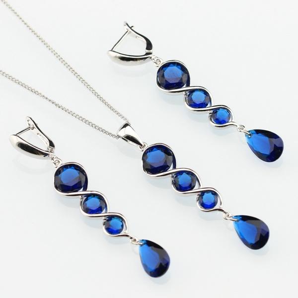 925silverjewelryset, Sapphire, Jewelry, Blue Sapphire