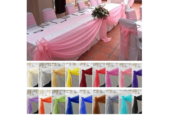 5M*0.5M Top Table Swags Sheer Organza Fabric DIY Wedding Party Bow Decorations Indoor