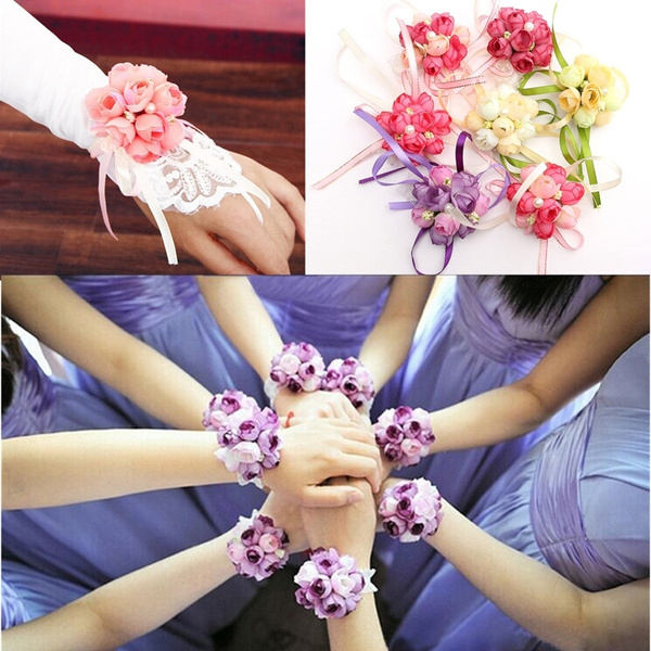 Picture of Wrist Corsage Bracelet Bridesmaid Sisters Hand Flowers Wedding Party Bridal Prom