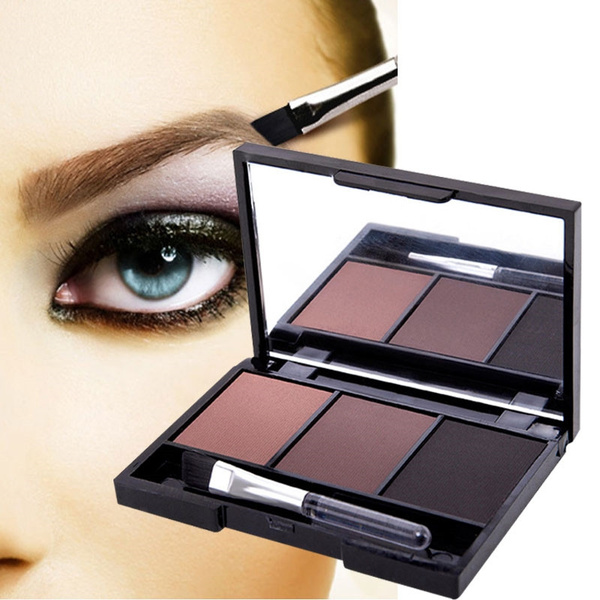 Picture of 3 Colour Waterproof Eyebrow Powder/shadow Palette Make Up Eyebrow With Brush