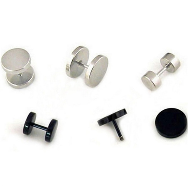 Dumbbell Shape Stainless Steel Material Earings Cool Rock Earings for Girl and Boy #msgsu coltd#