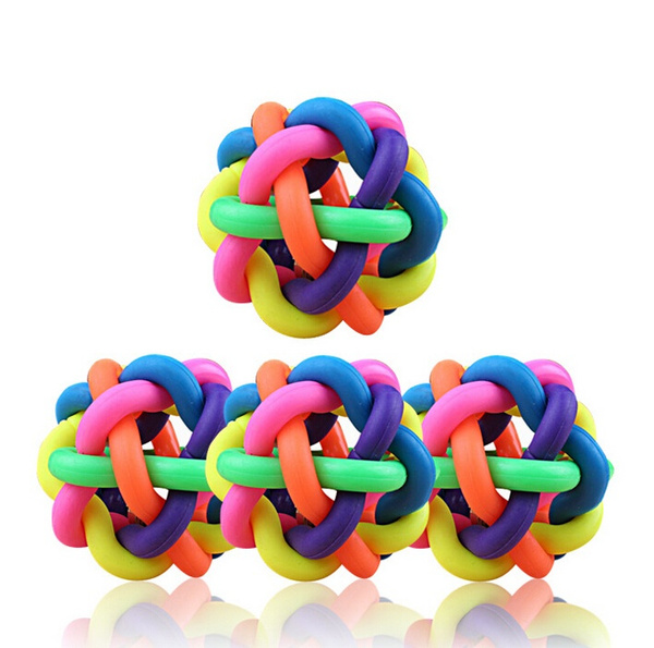 1Pcs Creative Dog Puppy Pet Knot Cotton Rope knotted Rubber Sound Ball Bell Chewing Toy WILI