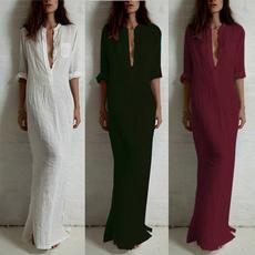pencil, linen dress, dungaree, Long Sleeve