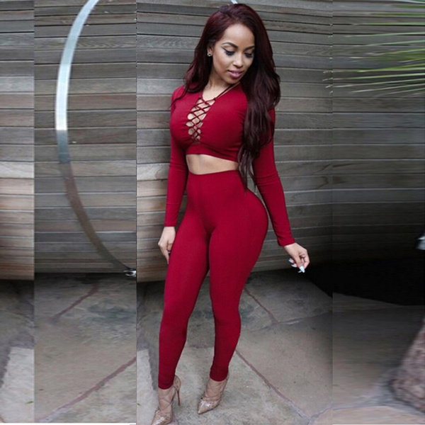 New Sexy Women Two Piece Outfits Halter Bandage Long Sleeve Tops + Bodycon Pants Leggings