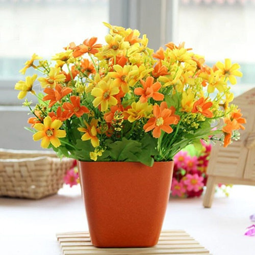 Picture of Durable 1 Bouquet 28 Heads Fake Daisy Chrysanthemum Artificial Silk Flower Home Hotal Wedding Flower Decoration