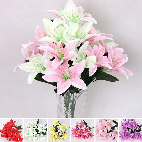 Picture of 10 Heads Silk Flower Artificial Lilies Bouquet Home Wedding Floral Decor