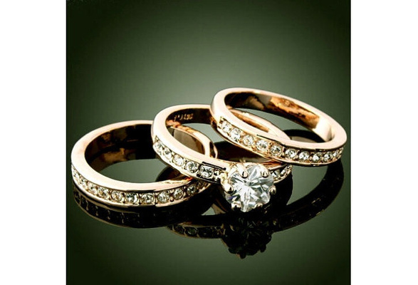 3-in-1/set 18K Yellow Gold GP Zirconia Charm Wedding Band Rings Jewelry sz6-10