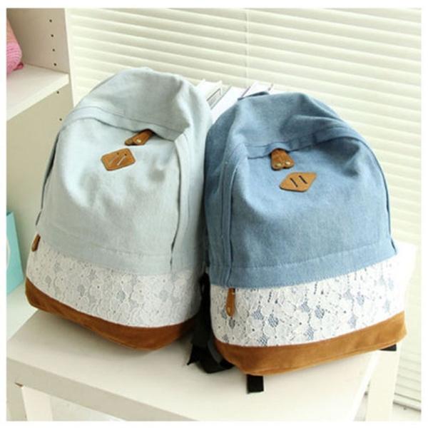 Picture of Girls Women Vintage Denim Satchel Backpack Rucksack Shoulder School Bag