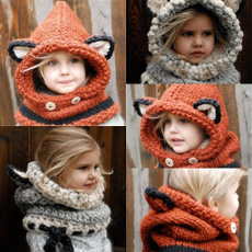 Baby Warm Hat Hooded Scarf Earflap Knitted Cap
