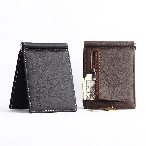 Picture of Men Slim Bi-fold Cowhide Wallet With Money Clip And Card Slots
