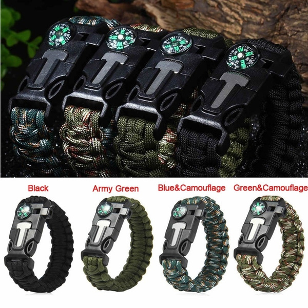 Paracord Survival Bracelet Compass/Flint/Fire Starter/Whistle Camping Gear Kits