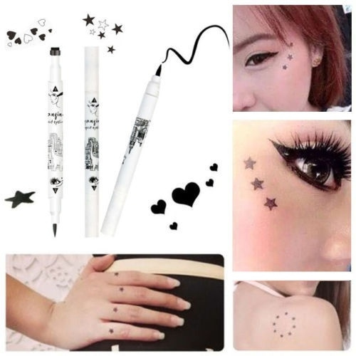 Picture of 1 Pcs With 2 Sides Trendy Black Waterproof Liquid Eyeliner Pencil Star Heart Shape Dot Stamp Tattoo