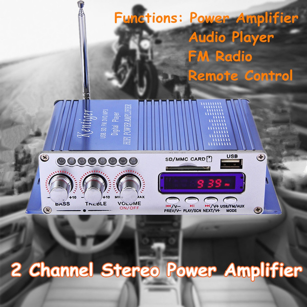 Picture of Hy502 12v Car Audio Stereo Power Amplifier 2 Channel Hi-fi Digital Mp3 Player W/ Led Display Fm Radio Remote Control - Supports Usb + Sd Card - No Adapter Size 12v Color Blue
