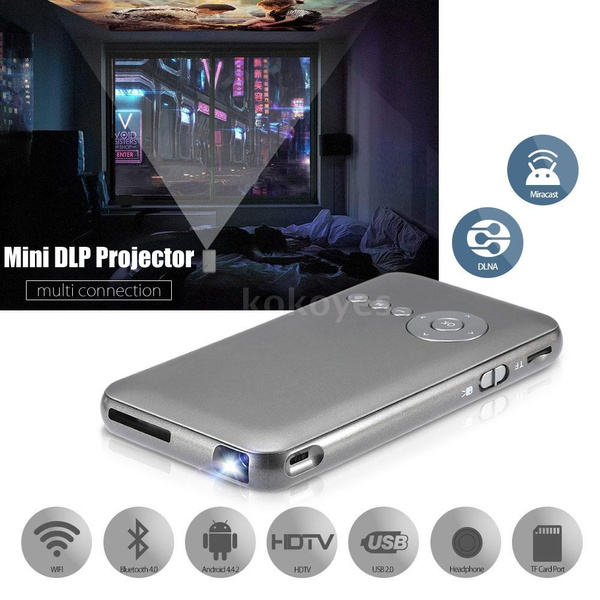 Picture of New M6 Dlp Led Projector+ Smart Tv Box 1g/16gb 2 In 1 Projection Machine Miracast Dlna 2.4g / 5g Dual Band Wifi Bluetooth 4.0 Hdtv For Notebook Laptop Smart Phones