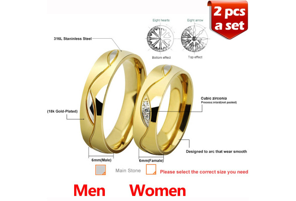 Couples Lovers 18K Gold Plated Titanium Couples Rings(a set, 2 pcs) Couple Titanium Finger Ring Inlaid with Clear Zircon His and Hers Promise Rings Wedding Engagement Rings