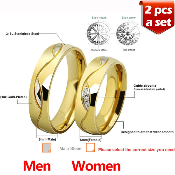 ac11377204642 Couples Lovers 18K Gold Plated Titanium Couples Rings(a set, 2 pcs) Couple  Titanium Finger Ring Inlaid with Clear Zircon His and Hers Promise Rings ...