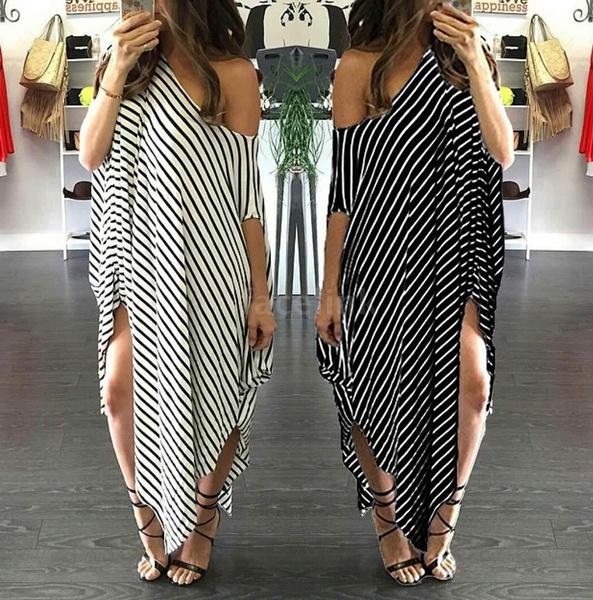 2bcb4d1acc2 New Women Loose Long Dress Striped Batwing Sleeve Off-shoulder Split ...