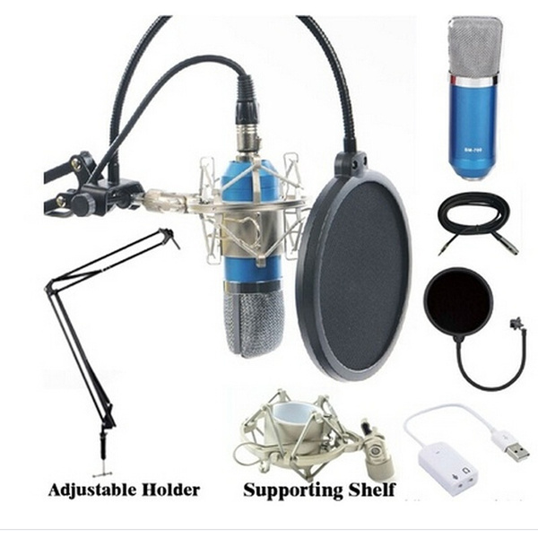 Picture of Latest Professional Studio Microphone Sound Recording Condenser Microphone Ktv Karaoke Wired Mic Dynamic+stand Holder Color Blue