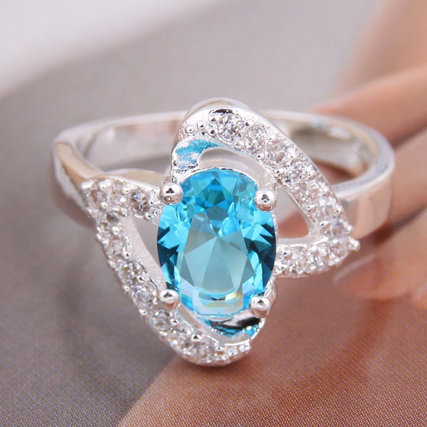 Picture of 925 Sterling Silver Ring Women's Fashion Lake Blue Jewelry Double Heart Gem Couples Ring Rings