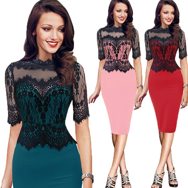 Women Elegant Vintage 12 Sleeve Lace Flower Patchwork Wear To Work Business Casual Party Bodycon Sheath Pencil Dress