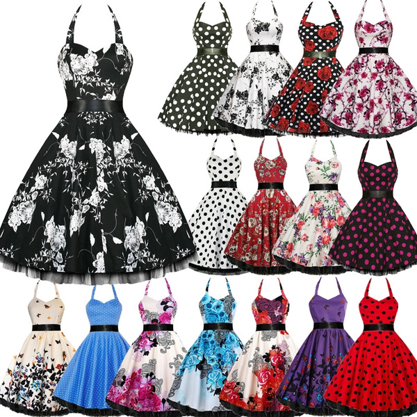 super cheap exclusive range sale online New Women Elegant Pinup Floral Print Retro 50s Style Cocktail Rockabilly  Evening Party Gown Swing Pleated Dress