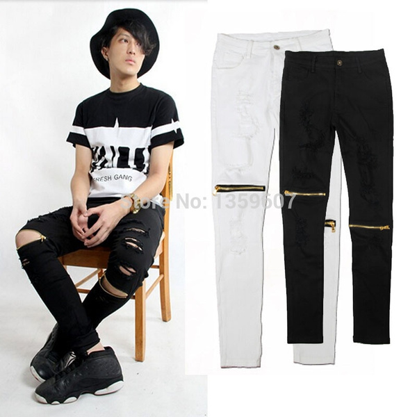 Wish | designer mens gold zipper distressed jeans ripped black and ...