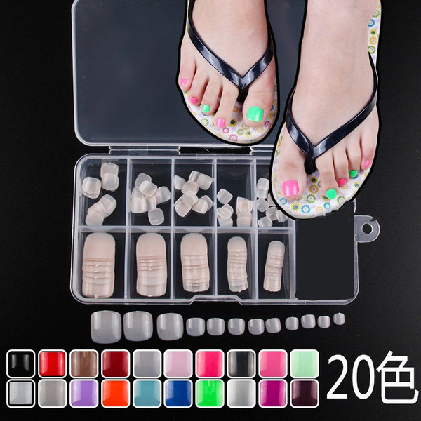 Picture of 120pcs Colorful Artificial Nail Art Tips Toenails Acrylic Uv Gel French False Toe Nails Box Package