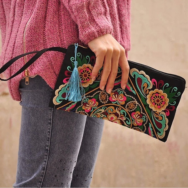 Picture of Handbag Purse National Retro Embroidered Phone Change Coin Bag