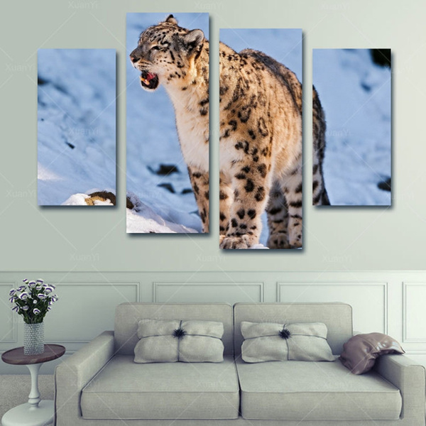 Wish 4 Panel Modern Printed Snow Leopard Cuadros Oil Painting