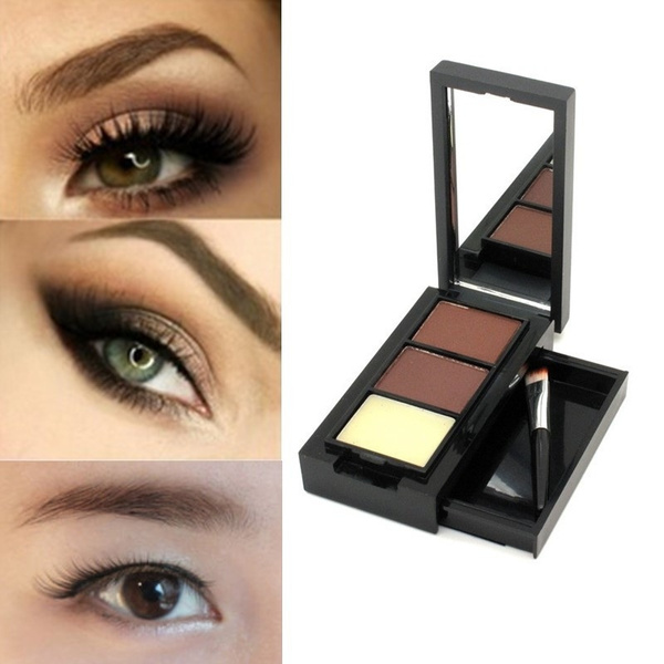 Picture of New Professional Eye Shadow Eye Brow Makeup 2 Color Eyebrow Powder + Eyebrow Wax Palette + Brush