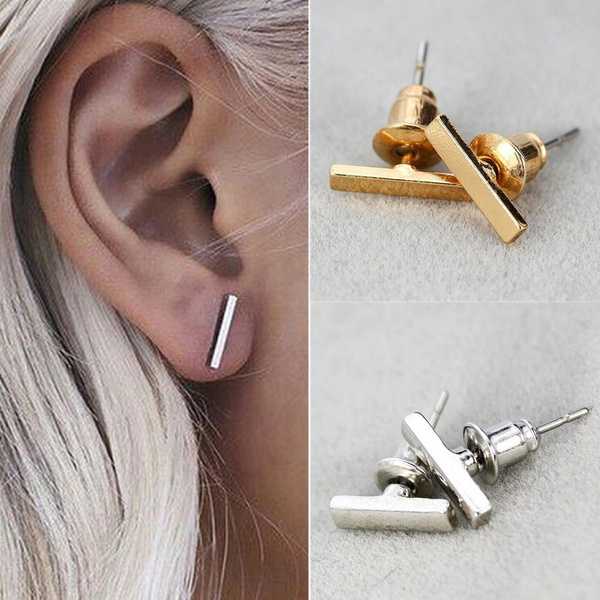 Picture of New 2pc Punk Women Simple Tiny Fashionable Earrings Stud Cute Bar Earring Stud