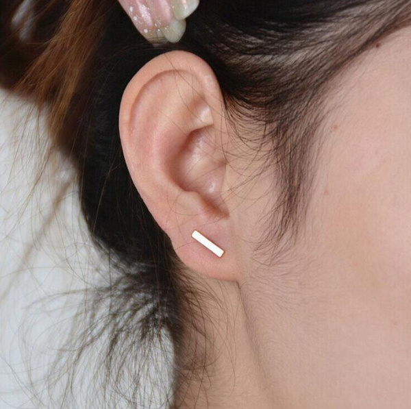 New 2pc Punk Women Simple Tiny fashionable Earrings Stud Cute Bar Earring Stud