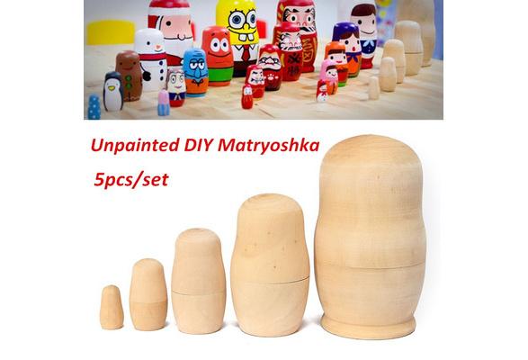 5pcs DIY Unpainted Blank Wooden Embryo Russian Nesting Dolls Matryoshka Toy Gift