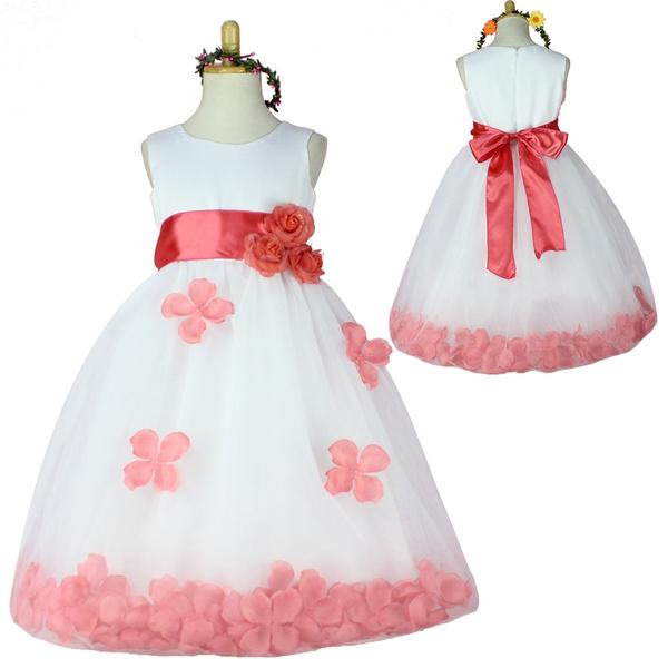 f94868601 Flower Girl Dresses WHITE with Rose Petal Dress Wedding Easter ...