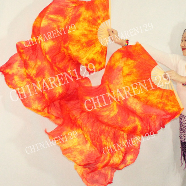 +carry bag BEST QUALITY PAIRS 1.5M BELLY DANCE PURE SILK FAN VEILS FREE SHIPPING