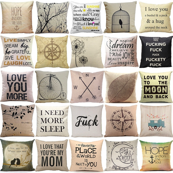 Picture of Simple Casual Style Beige Background Cotton Linen Pillow Cover Cushion Cover Pillow Case Home Decor
