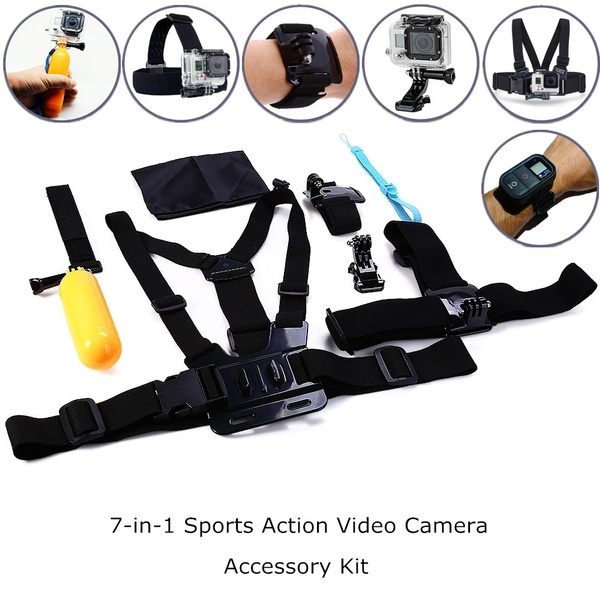 Picture of 7-in-1 Outdoor Sports Accessories Kit For Hero 4/3+/3/2 Sj4000 In Parachuting Swimming Rowing Surfing Skiing Climbing Diving Size Set Of 7 Color Black
