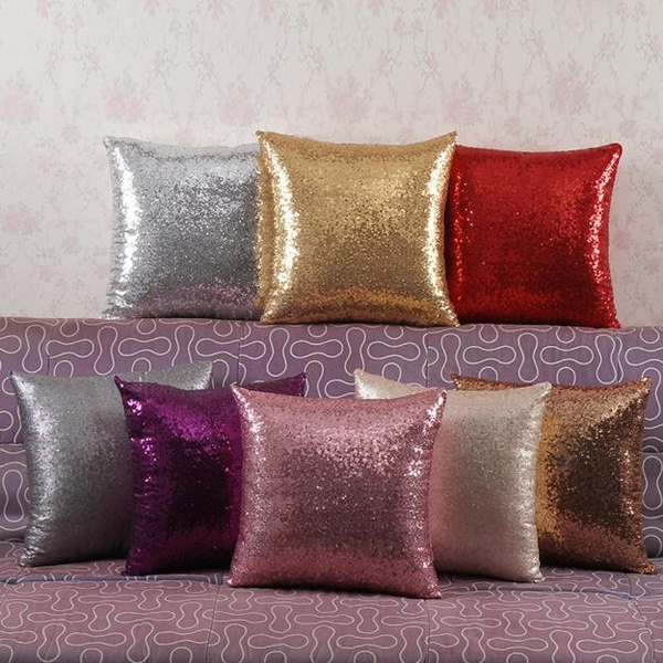 Picture of Home Solid Color Glitter Sequins Throw Pillow Case Cafe Home Decor Cushion Covers