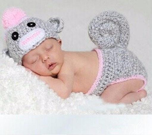 Geek Sock Monkey Crochet Baby Hat With Diaper Cover Handmade