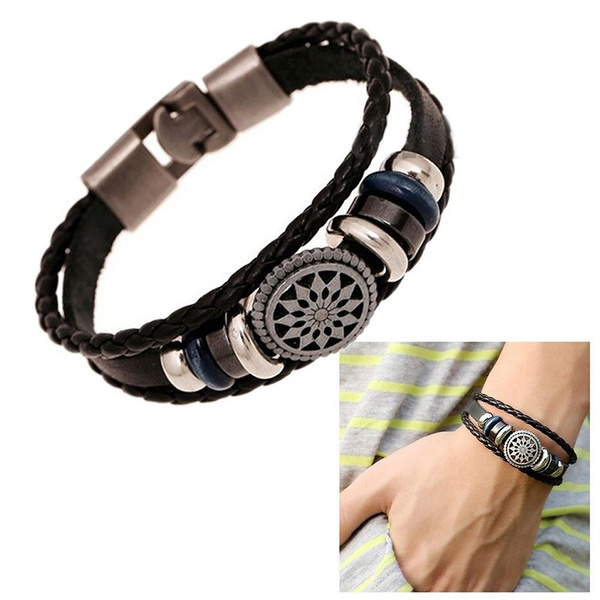 Picture of Fashion Pu Vintage Infinity Charm Wrap Men Women Bracelet Jewelry Punk Style New Color Bronze