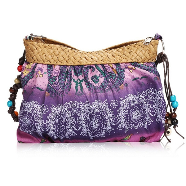 Picture of Fashion Women Bohemian Boho Ethnic Print Beach Bag Purse Crossbody Cloth Bag