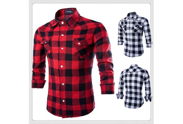 New Geek Men's Shirts Pure Cotton Grid Casual Slim Long Sleeve Man Plaid Shirt Black/Red
