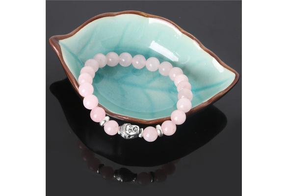 2016 New Natural Stone beads Bangle Sliver Buddha Bracelets,Rose Quartz,Energy Healing Stone,Yoga bracelet,Unisex SZS
