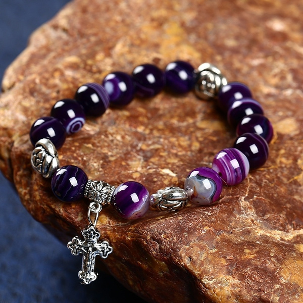 Picture of Natural Purple Agate Bracelet Agate Gemstone Bracelet Beads Selection Of Stylish And Elegant Quality Color Purple